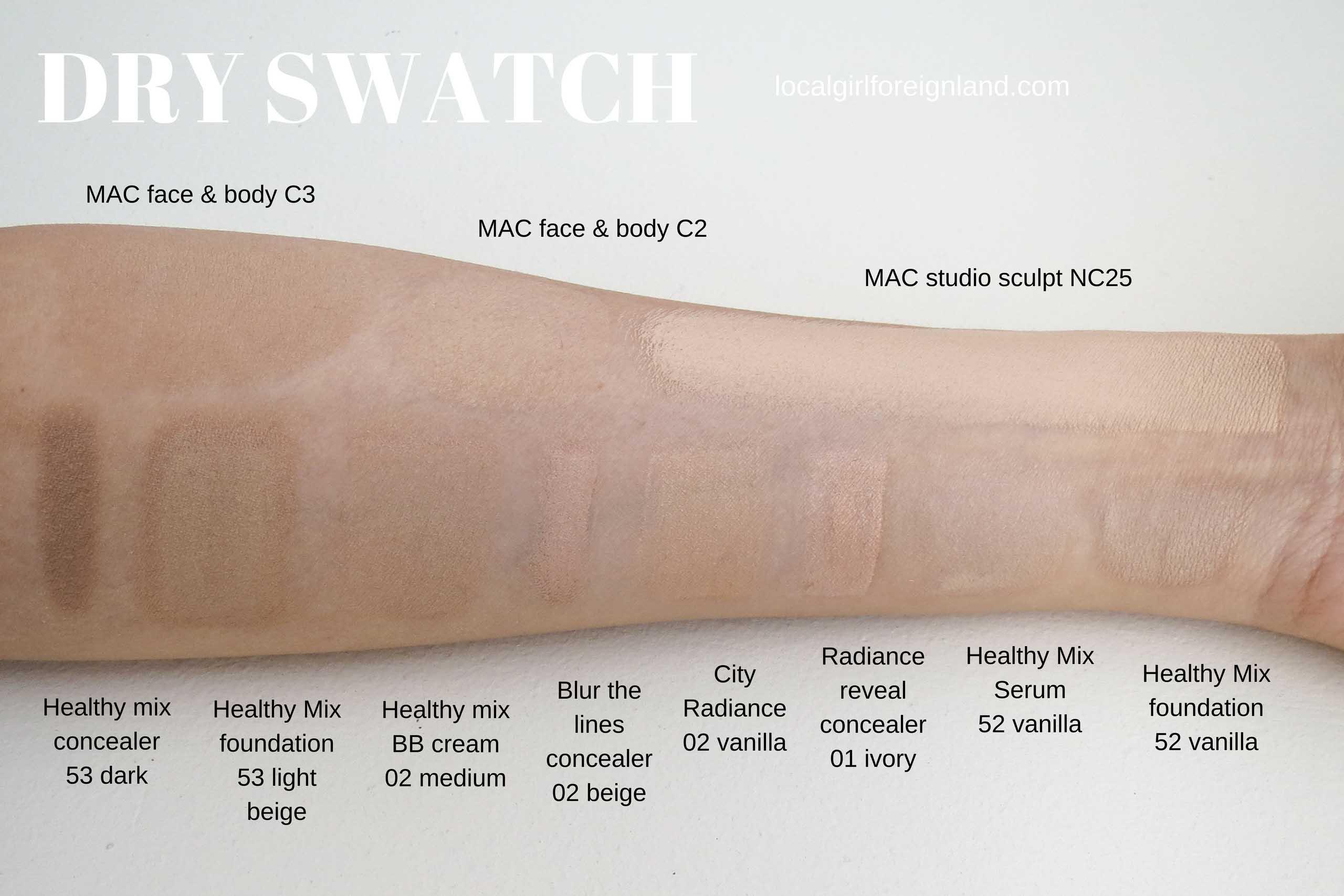Bourjois dry swatch next to MAC