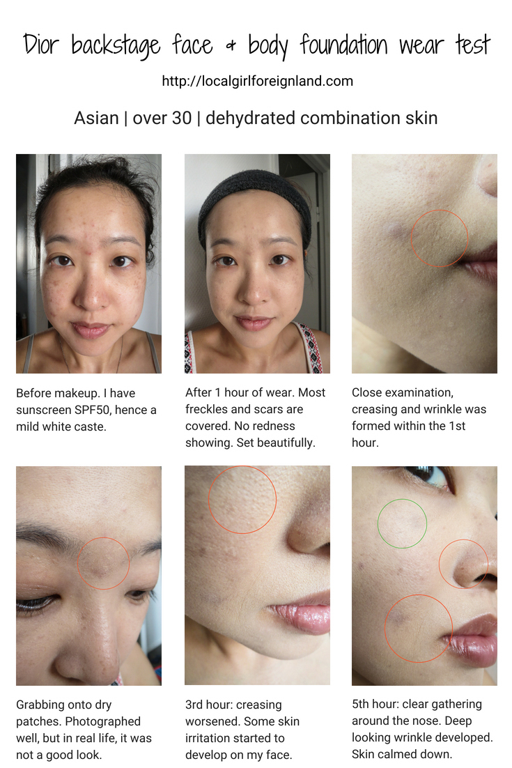 Dior Face and Body foundation wear test, dehydrated combination skin, over 30, asian